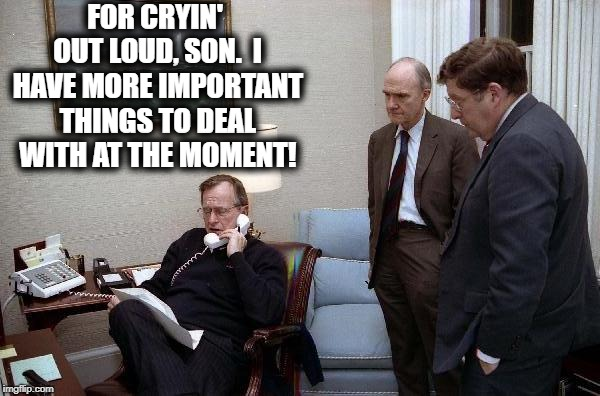 FOR CRYIN' OUT LOUD, SON.  I HAVE MORE IMPORTANT THINGS TO DEAL WITH AT THE MOMENT! | made w/ Imgflip meme maker