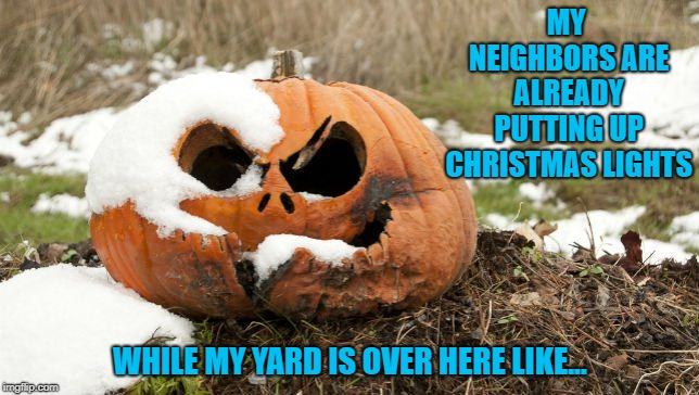 True story...I should probably do something with them. | MY NEIGHBORS ARE ALREADY PUTTING UP CHRISTMAS LIGHTS WHILE MY YARD IS OVER HERE LIKE... | image tagged in halloween,memes,jack o lantern,funny,christmas,rotting pumpkin | made w/ Imgflip meme maker
