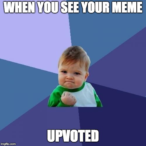 The feeling | WHEN YOU SEE YOUR MEME UPVOTED | image tagged in memes,success kid | made w/ Imgflip meme maker