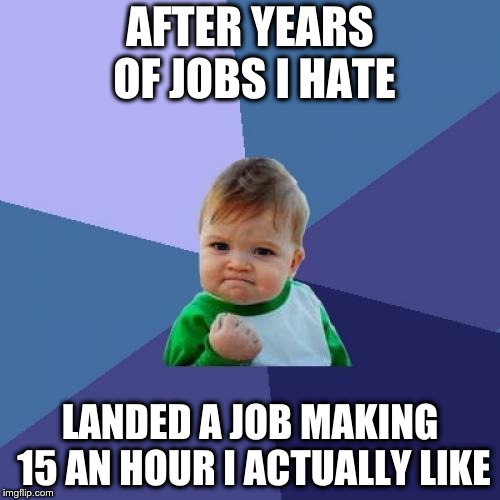 Success Kid Meme | AFTER YEARS OF JOBS I HATE LANDED A JOB MAKING 15 AN HOUR I ACTUALLY LIKE | image tagged in memes,success kid,AdviceAnimals | made w/ Imgflip meme maker