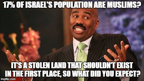 Steve Harvey | 17% OF ISRAEL'S POPULATION ARE MUSLIMS? IT'S A STOLEN LAND THAT SHOULDN'T EXIST IN THE FIRST PLACE, SO WHAT DID YOU EXPECT? | image tagged in memes,steve harvey,israel,stolen | made w/ Imgflip meme maker