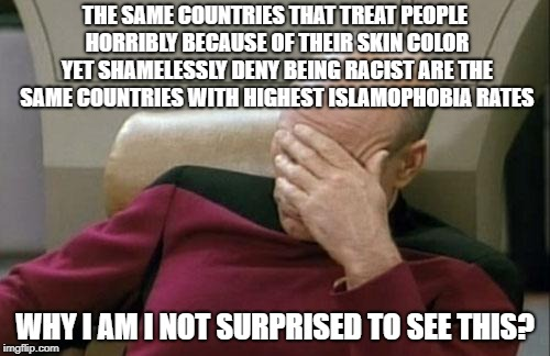 Captain Picard Facepalm | THE SAME COUNTRIES THAT TREAT PEOPLE HORRIBLY BECAUSE OF THEIR SKIN COLOR YET SHAMELESSLY DENY BEING RACIST ARE THE SAME COUNTRIES WITH HIGH | image tagged in memes,captain picard facepalm,islamophobia,racist,racists,racism | made w/ Imgflip meme maker
