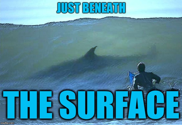 Shark surfer | JUST BENEATH THE SURFACE | image tagged in shark surfer | made w/ Imgflip meme maker