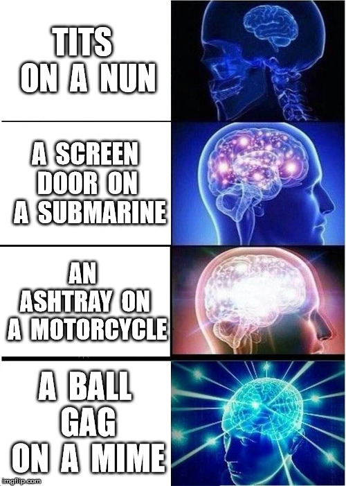 What are some other useless things? | TITS  ON  A  NUN A  SCREEN DOOR  ON  A  SUBMARINE AN  ASHTRAY  ON  A  MOTORCYCLE A  BALL  GAG  ON  A  MIME | image tagged in memes,expanding brain | made w/ Imgflip meme maker