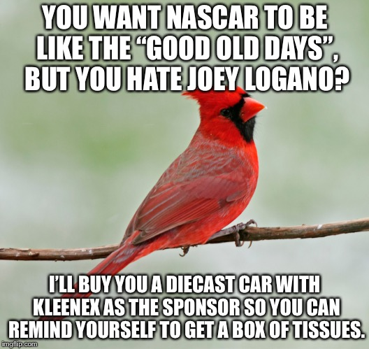 "Joey Logano is throwback NASCAR, so stop crying. | YOU WANT NASCAR TO BE LIKE THE ""GOOD OLD DAYS"", BUT YOU HATE JOEY LOGANO? I'LL BUY YOU A DIECAST CAR WITH KLEENEX AS THE SPONSOR SO YOU CAN  
