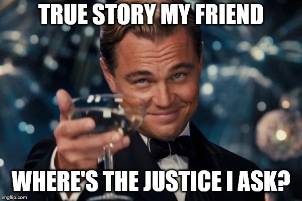 Leonardo Dicaprio Cheers Meme | TRUE STORY MY FRIEND WHERE'S THE JUSTICE I ASK? | image tagged in memes,leonardo dicaprio cheers | made w/ Imgflip meme maker