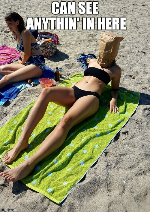 PAPER BAG GIRL | CAN SEE ANYTHIN' IN HERE | image tagged in paper bag girl | made w/ Imgflip meme maker