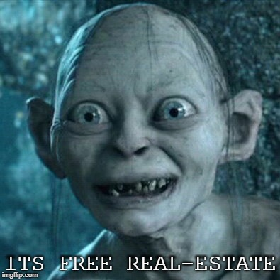 Gollum | ITS FREE REAL-ESTATE | image tagged in memes,gollum | made w/ Imgflip meme maker
