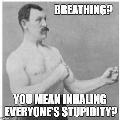 Overly Manly Man Meme | BREATHING? YOU MEAN INHALING EVERYONE'S STUPIDITY? | image tagged in memes,overly manly man | made w/ Imgflip meme maker