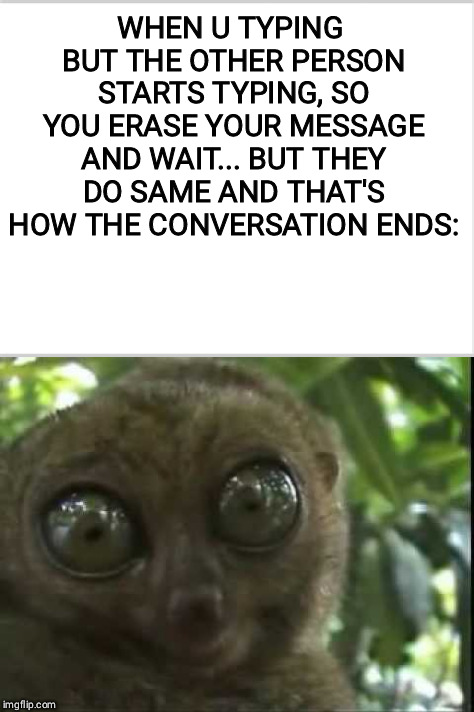 WHEN U TYPING BUT THE OTHER PERSON STARTS TYPING, SO YOU ERASE YOUR MESSAGE AND WAIT... BUT THEY DO SAME AND THAT'S HOW THE CONVERSATION END | image tagged in well shit,memes,animals,goofy,awkward | made w/ Imgflip meme maker