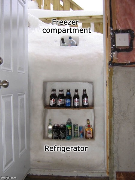 When Mother Nature knocks out the power | Freezer compartment Refrigerator | image tagged in memes,life hack,blizzard | made w/ Imgflip meme maker