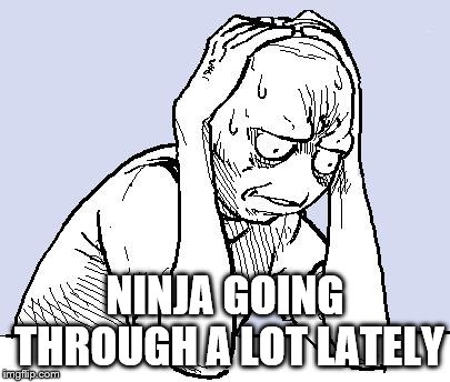 stressed meme | NINJA GOING THROUGH A LOT LATELY | image tagged in stressed meme | made w/ Imgflip meme maker