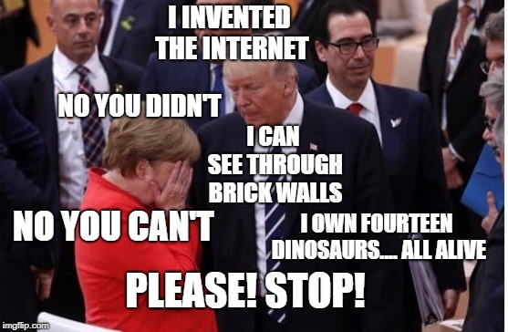 I INVENTED THE INTERNET; NO YOU DIDN'T; I CAN SEE THROUGH BRICK WALLS; NO YOU CAN'T; I OWN FOURTEEN DINOSAURS.... ALL ALIVE; PLEASE! STOP! | image tagged in donald trump the clown,alternative facts | made w/ Imgflip meme maker