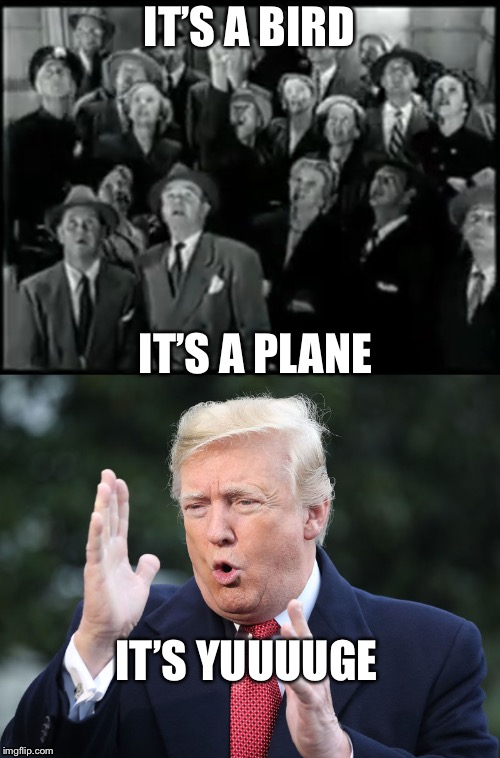 YUUUUGE | IT'S A BIRD IT'S A PLANE IT'S YUUUUGE | image tagged in ive made a huge mistake,memes,funny,donald trump,superman | made w/ Imgflip meme maker