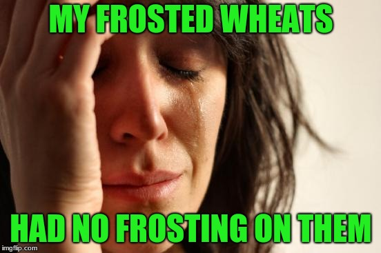 First World Problems Meme | MY FROSTED WHEATS HAD NO FROSTING ON THEM | image tagged in memes,first world problems | made w/ Imgflip meme maker