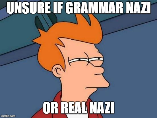 2018 be like |  UNSURE IF GRAMMAR NAZI; OR REAL NAZI | image tagged in memes,futurama fry,irony | made w/ Imgflip meme maker