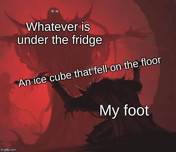 The ice cube on the floor | Whatever is under the fridge My foot An ice cube that fell on the floor | image tagged in ice,cube,on,the,floor | made w/ Imgflip meme maker