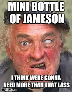 Irish guy | MINI BOTTLE OF JAMESON I THINK WERE GONNA NEED MORE THAN THAT LASS | image tagged in irish guy | made w/ Imgflip meme maker