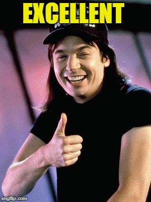 Wayne's world  | EXCELLENT | image tagged in wayne's world | made w/ Imgflip meme maker