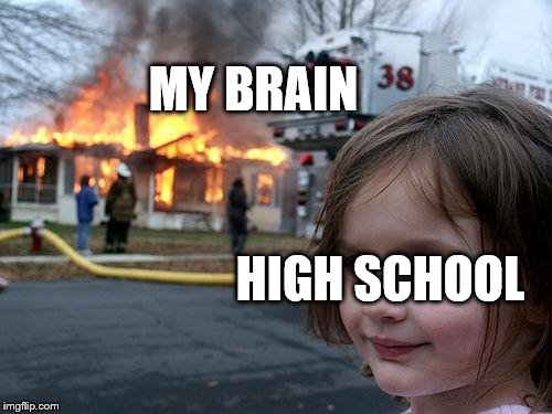 High school is bad for u! AND ME!!! | MY BRAIN HIGH SCHOOL | image tagged in memes,disaster girl,high school,brain,funny meme,lol so funny | made w/ Imgflip meme maker