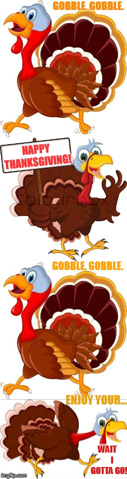 Happy Thanksgiving! | GOBBLE, GOBBLE. WAIT      I GOTTA GO! HAPPY THANKSGIVING! GOBBLE, GOBBLE. ENJOY YOUR... | image tagged in memes,funny,turkey,happy thanksgiving,wish,gobble gobble | made w/ Imgflip meme maker