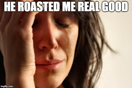 First World Problems Meme | HE ROASTED ME REAL GOOD | image tagged in memes,first world problems | made w/ Imgflip meme maker