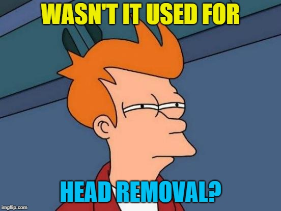 Futurama Fry Meme | WASN'T IT USED FOR HEAD REMOVAL? | image tagged in memes,futurama fry | made w/ Imgflip meme maker