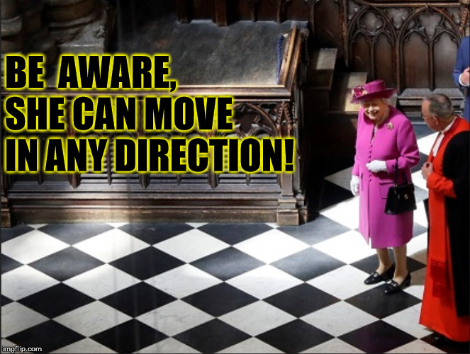 Queen Elizabeth Chess Moves | BE  AWARE, SHE CAN MOVE IN ANY DIRECTION! | image tagged in queen elizabeth,memes,chess,strategy,roll safe think about it | made w/ Imgflip meme maker
