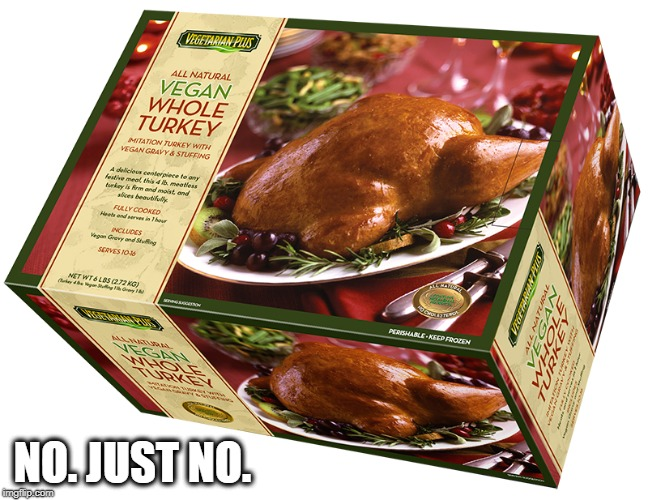 Happy Thanksgiving!  | NO. JUST NO. | image tagged in memes,funny,funny memes,vegan,thanksgiving | made w/ Imgflip meme maker