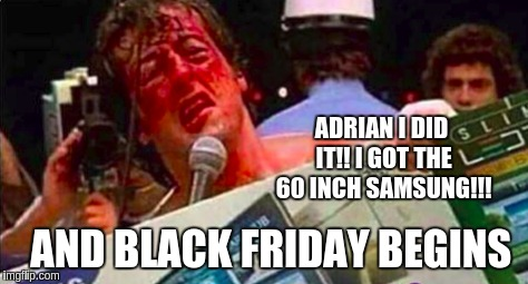 Black Friday begins  | ADRIAN I DID IT!! I GOT THE 60 INCH SAMSUNG!!! AND BLACK FRIDAY BEGINS | image tagged in funny,rocky balboa,rocky adrian,rocky victory,pie charts,success kid | made w/ Imgflip meme maker