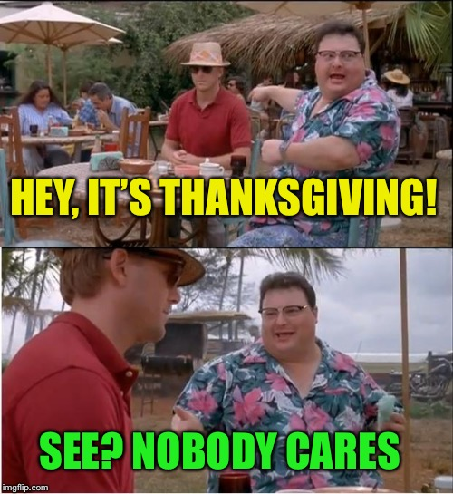 See Nobody Cares Meme | HEY, IT'S THANKSGIVING! SEE? NOBODY CARES | image tagged in memes,see nobody cares | made w/ Imgflip meme maker