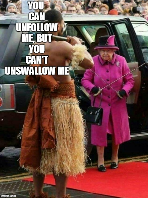 YOU CAN UNFOLLOW ME, BUT YOU CAN'T UNSWALLOW ME | made w/ Imgflip meme maker