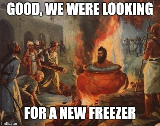 cannibal | GOOD, WE WERE LOOKING FOR A NEW FREEZER | image tagged in cannibal | made w/ Imgflip meme maker