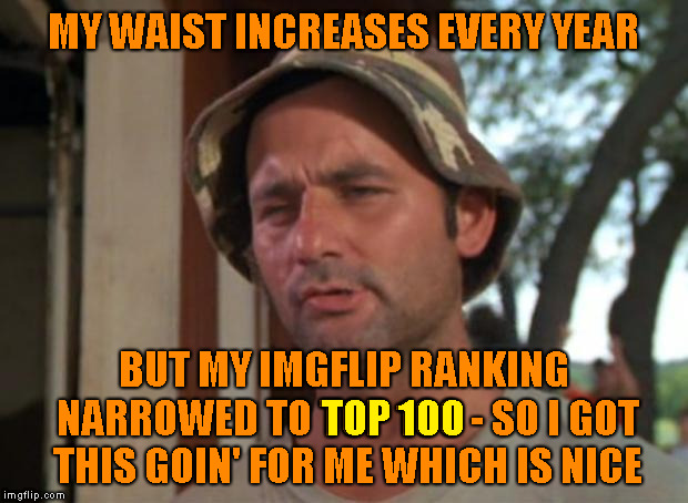 Thank you all who helped me get there | MY WAIST INCREASES EVERY YEAR BUT MY IMGFLIP RANKING NARROWED TO TOP 100 - SO I GOT THIS GOIN' FOR ME WHICH IS NICE TOP 100 | image tagged in memes,so i got that goin for me which is nice,top 100,thank you imgflip | made w/ Imgflip meme maker