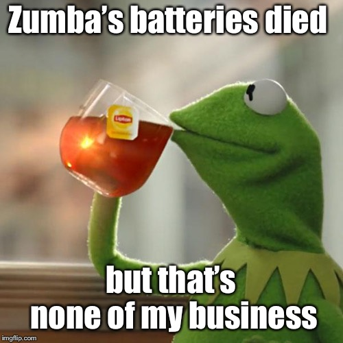 But Thats None Of My Business Meme | Zumba's batteries died but that's none of my business | image tagged in memes,but thats none of my business,kermit the frog | made w/ Imgflip meme maker