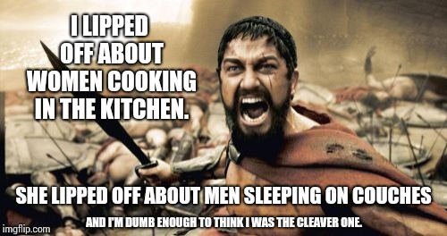 Didn't Think That Through. | I LIPPED OFF ABOUT WOMEN COOKING IN THE KITCHEN. SHE LIPPED OFF ABOUT MEN SLEEPING ON COUCHES AND I'M DUMB ENOUGH TO THINK I WAS THE CLEAVER | image tagged in memes,sparta leonidas,meme,men vs women,difference between men and women,alright gentlemen we need a new idea | made w/ Imgflip meme maker