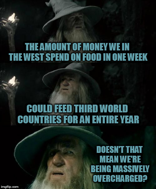 Let them eat cake! |  THE AMOUNT OF MONEY WE IN THE WEST SPEND ON FOOD IN ONE WEEK; COULD FEED THIRD WORLD COUNTRIES FOR AN ENTIRE YEAR; DOESN'T THAT MEAN WE'RE BEING MASSIVELY OVERCHARGED? | image tagged in memes,confused gandalf | made w/ Imgflip meme maker
