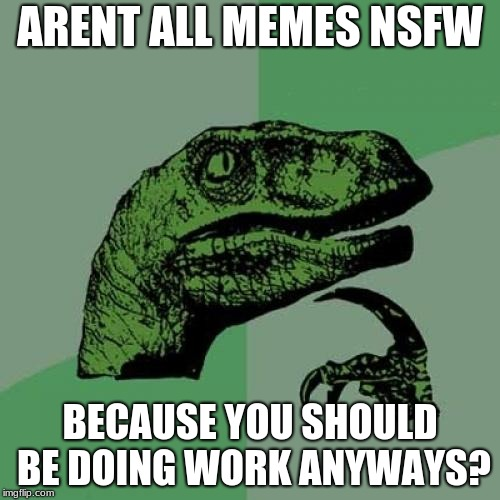 Philosoraptor Meme | ARENT ALL MEMES NSFW BECAUSE YOU SHOULD BE DOING WORK ANYWAYS? | image tagged in memes,philosoraptor | made w/ Imgflip meme maker