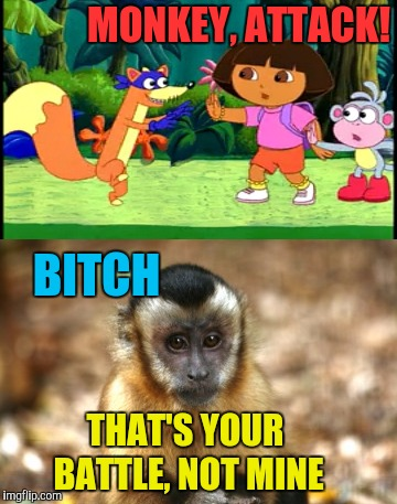 MONKEY, ATTACK! THAT'S YOUR BATTLE, NOT MINE B**CH | image tagged in swiper no swiping | made w/ Imgflip meme maker