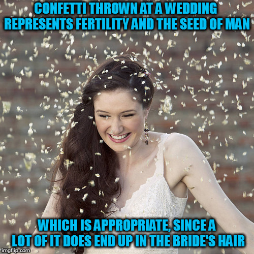 Among other places | CONFETTI THROWN AT A WEDDING REPRESENTS FERTILITY AND THE SEED OF MAN WHICH IS APPROPRIATE, SINCE A LOT OF IT DOES END UP IN THE BRIDE'S HAI | image tagged in memes,confetti,wedding tradition | made w/ Imgflip meme maker