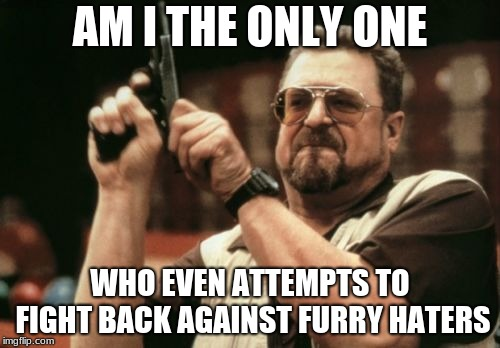 you see hate.... you stop the hate | AM I THE ONLY ONE WHO EVEN ATTEMPTS TO FIGHT BACK AGAINST FURRY HATERS | image tagged in memes,am i the only one around here,furry,furries | made w/ Imgflip meme maker