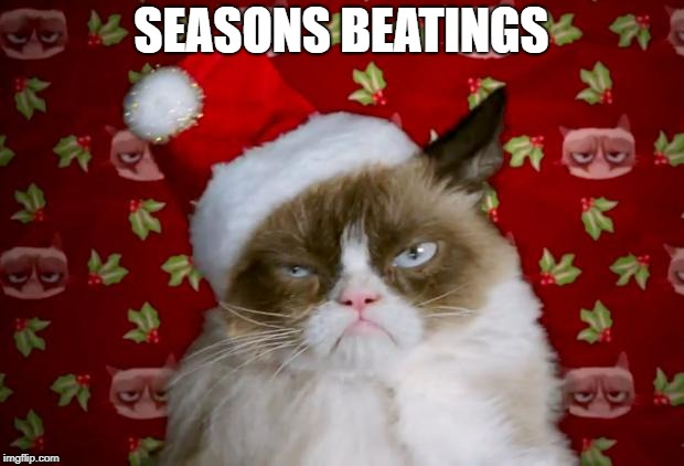 Happy Black Friday! | SEASONS BEATINGS | image tagged in grumpy santa cat | made w/ Imgflip meme maker