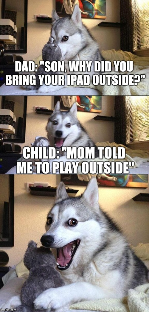 "Bad Pun Dog Meme | DAD: ""SON, WHY DID YOU BRING YOUR IPAD OUTSIDE?"" CHILD: ""MOM TOLD ME TO PLAY OUTSIDE"" 