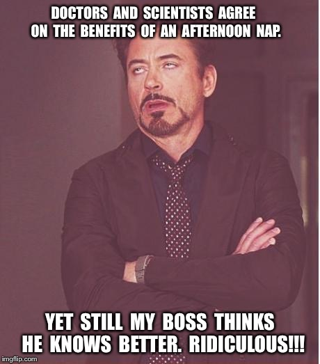 Face You Make Robert Downey Jr Meme | DOCTORS  AND  SCIENTISTS  AGREE  ON  THE  BENEFITS  OF  AN  AFTERNOON  NAP. YET  STILL  MY  BOSS  THINKS  HE  KNOWS  BETTER.  RIDICULOUS!!! | image tagged in memes,face you make robert downey jr | made w/ Imgflip meme maker