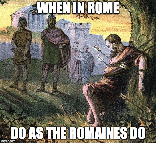 Lettuce not forget |  WHEN IN ROME; DO AS THE ROMAINES DO | image tagged in lettuce,romans,romaine lettuce | made w/ Imgflip meme maker