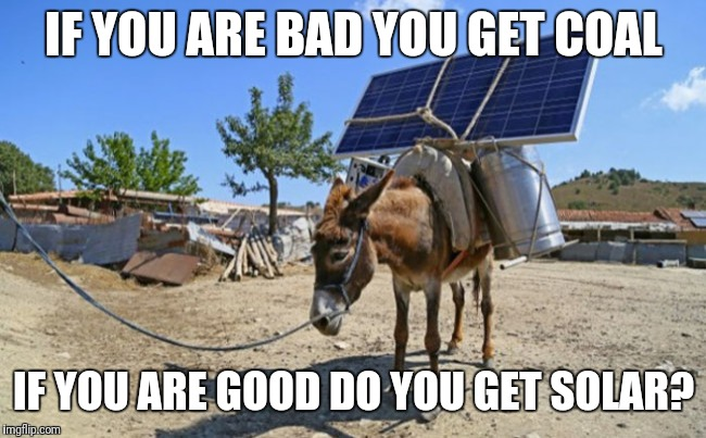 IF YOU ARE BAD YOU GET COAL IF YOU ARE GOOD DO YOU GET SOLAR? | image tagged in solar mule | made w/ Imgflip meme maker