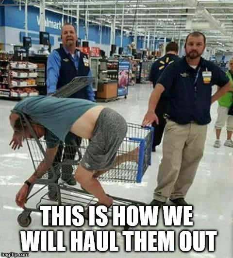 walmart idiot | THIS IS HOW WE WILL HAUL THEM OUT | image tagged in walmart idiot | made w/ Imgflip meme maker