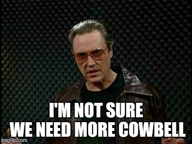 Needs More Cowbell | I'M NOT SURE WE NEED MORE COWBELL | image tagged in needs more cowbell | made w/ Imgflip meme maker