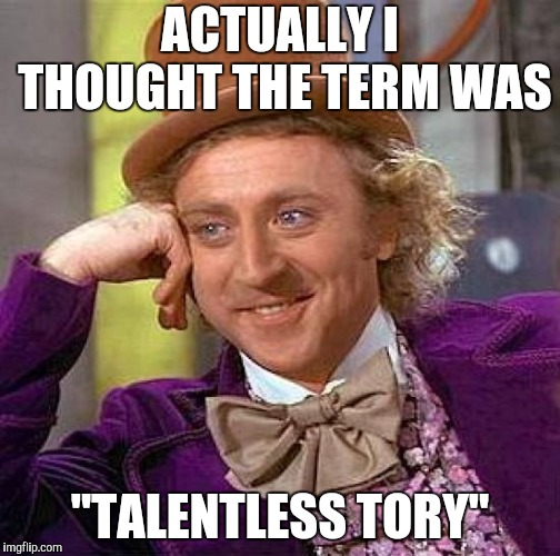 "Creepy Condescending Wonka Meme | ACTUALLY I THOUGHT THE TERM WAS ""TALENTLESS TORY"" 