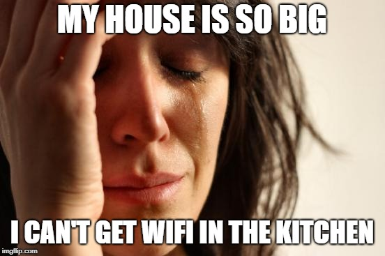 First World Problems | MY HOUSE IS SO BIG I CAN'T GET WIFI IN THE KITCHEN | image tagged in memes,first world problems | made w/ Imgflip meme maker